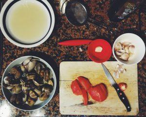 Ingredientes sauté di vongole almejas