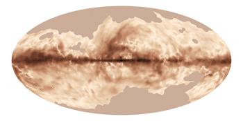 O campo magnético da Via Láctea, tal como foi visto pelo satélite Planck, uma missão da Agência Espacial Europeia, com contribuições significativas da NASA. Esta imagem foi produzida a partir das primeiras observações de todo o céu da luz polarizada emitida pela poeira interestelar da Via Láctea. Crédito: ESA and the Planck Collaboration.