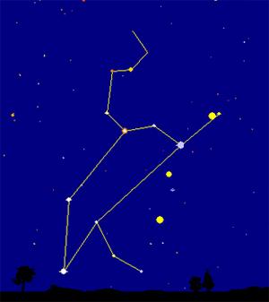 Horizonte este, primeira semana de outubro, 1h antes do nascer do sol. Os pontos amarelos são, contados de cima, Vénus, Marte e Júpiter. Régulo (alfa Leonis) em azul claro fica por cima de Marte.