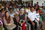 Ligaya Amilbangsa (center) watches the dance contest at the DepEd Compound with Governor Sahali (right) and ARMM Tourism Officer Nassreena S. Baddini (left).