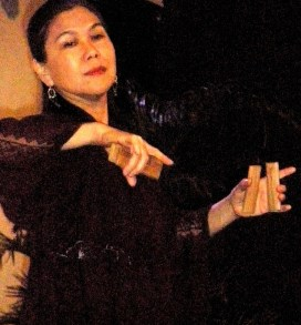 "Nannette Matilac demonstrates the tariray and bula'bula which are featured in the film ""Sayaw sa Alon."""