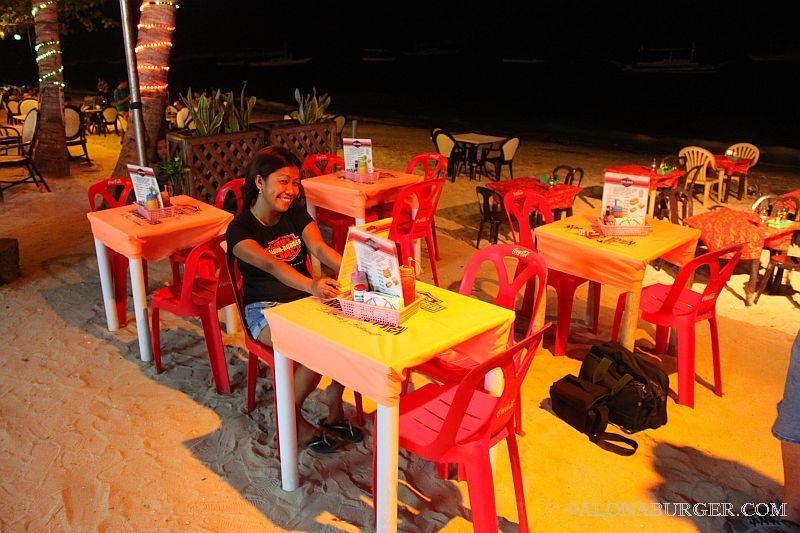 Alona burger sea side dining area