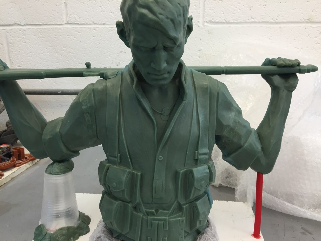'wax' sculpture being 'modelled' from plaster at Pangolin Editions