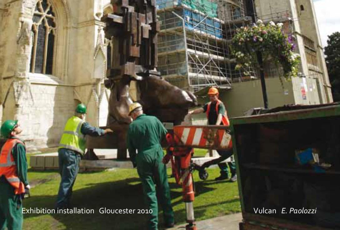 'Installation' of Eduardo Paolozzi 'Sculpture' Gloucester Cathedral