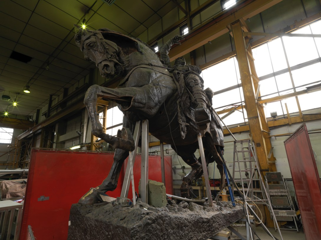 'Restoration' of 'Bronze' Hugh Lupus Sculpture by G.F. Watts at Pangolin Editions 'Foundry'