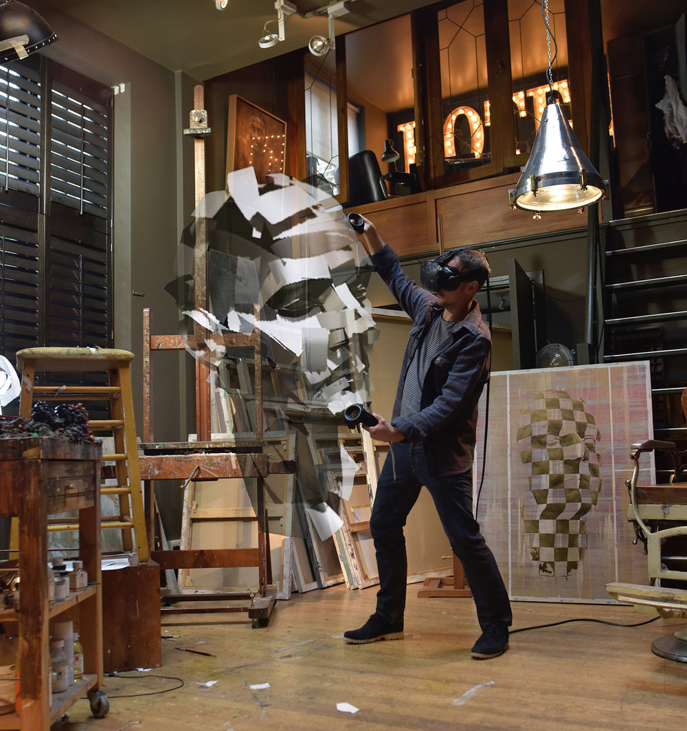 'visualisation' of the 'VR' sculpture with 'artist' Jonathan Yeo at his studio