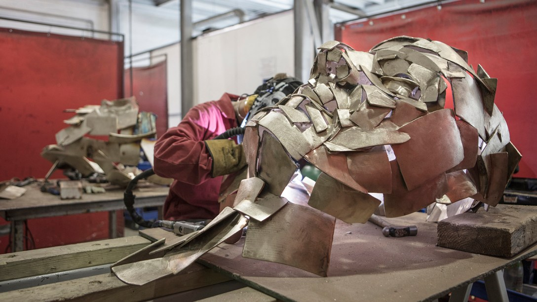 'sculpture' being 'metal worked' at Pangolin Editions