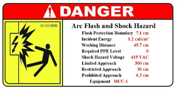 arc-flash equipment label