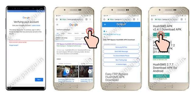 FRP Samsung Galaxy Note 8 install hushSms APK