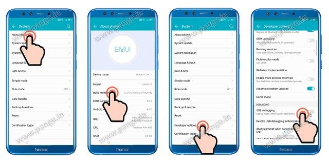 frp remove Enable developer option honor 9 lite LLD-AL10
