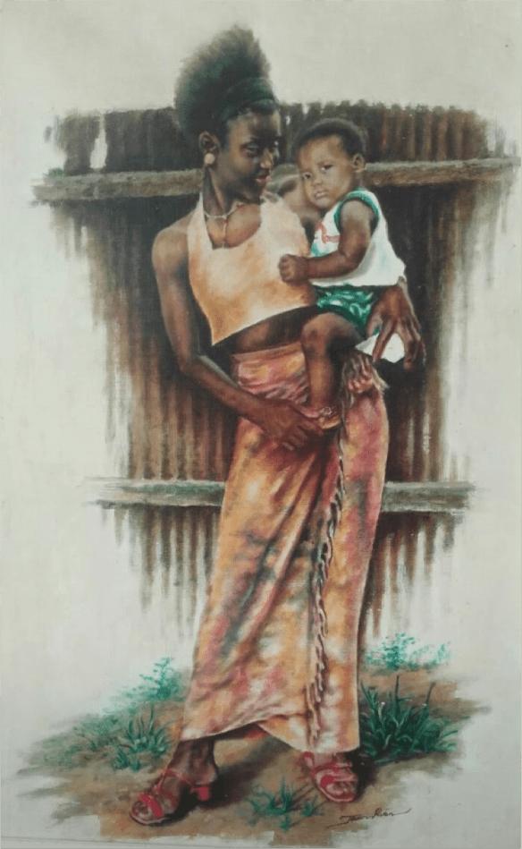 Pintura de Tavares Alves, urbanista e artista angolano residente em  Caiena