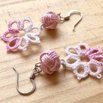 No.5 華てまりピアス(ピンク) … ¥800 (約5.5cm)(水引 レース糸)(真鍮)