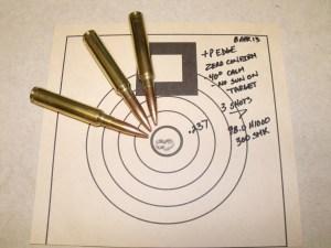 3-shot group from 338 Edge +P with 300 grain SMKs Defensive Edge Canyon Rifle zero