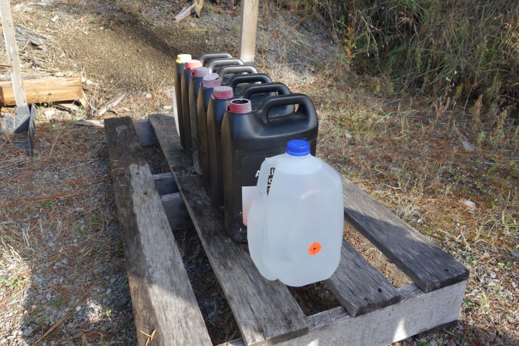 Water Jugs Lined Up ELD-X Test