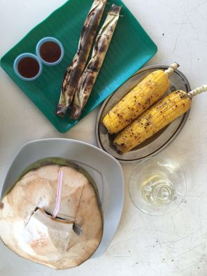 Lemantak udang and Grilled corn with Coconut water