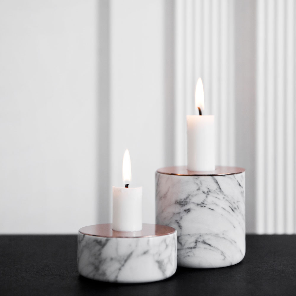Menu Chunk Of Marble Large With Copper Top Candle Holder