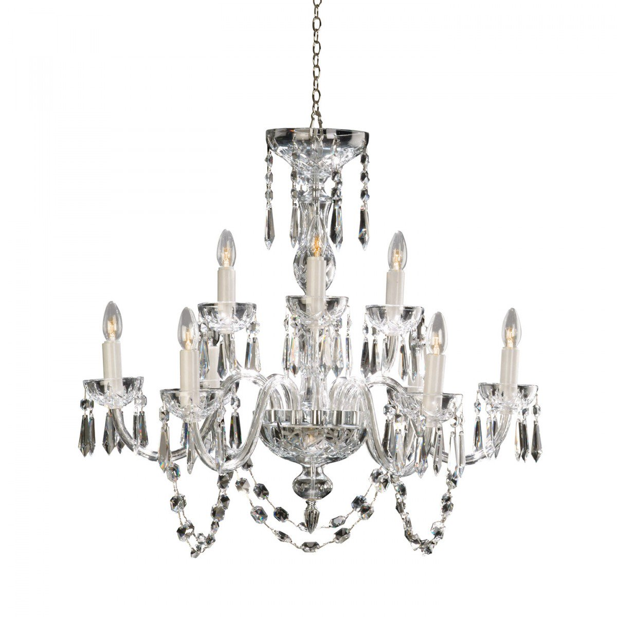 Waterford Lismore 9 Arm Crystal Glass Chandelier