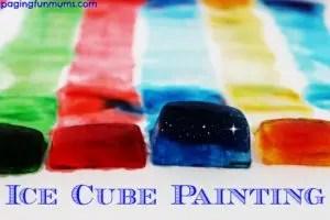 zimowe prace plastyczne - malowanie lodem