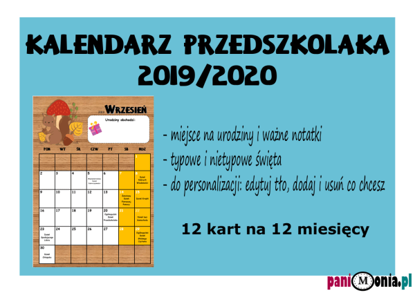 kalendarz przedszkolaka 2019 2020