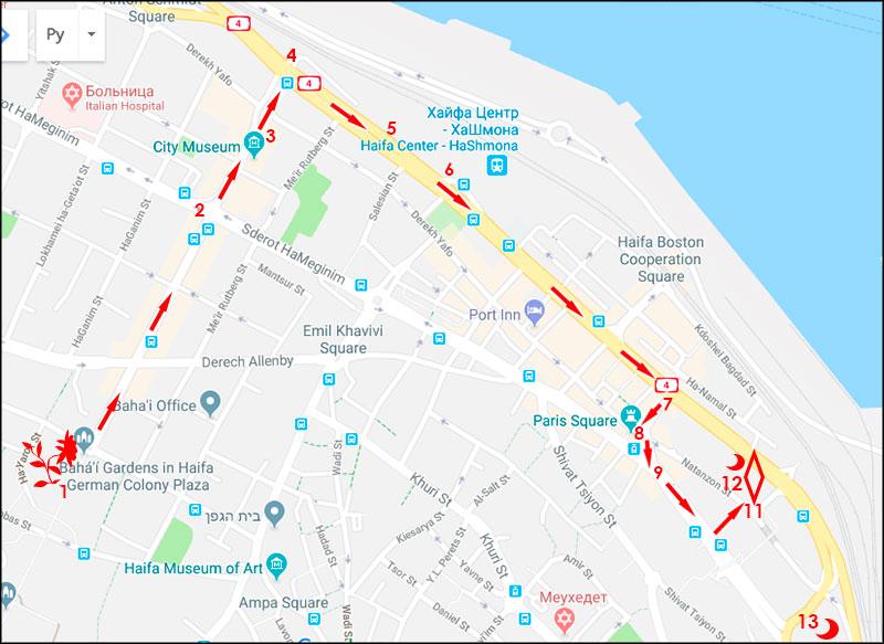 Карта одного из районов Хайфы