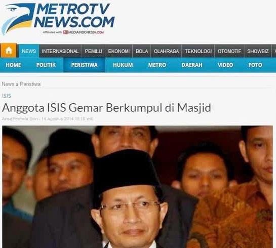 Metro TV Beritakan Masjid Sebagai Sarang Teroris