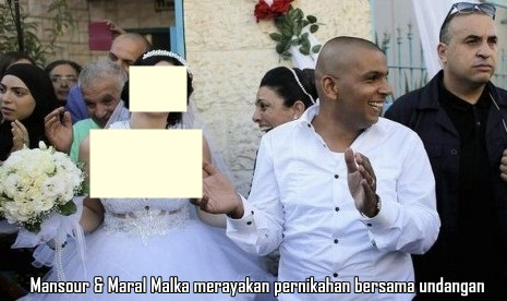 Pria Muslim Mahmoud Mansour & Wanita Yahudi Maral Malka Rayakan pernikahan