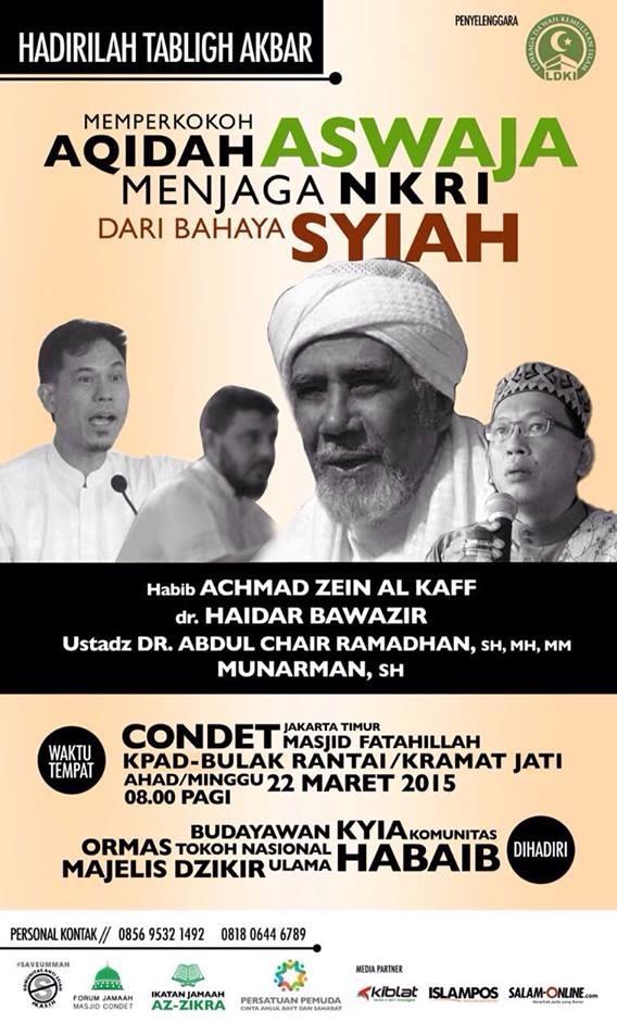 Poster Aswaja Jaga NKRI Tolak Syi'ah di Condet Jakarta