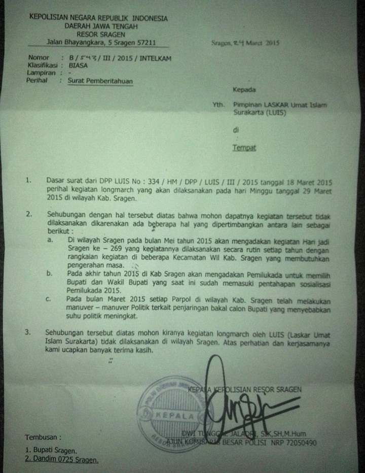 Surat Larangan dari Polres Sragen