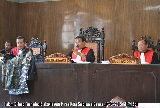 Hakim Sidang lanjutan aktivis Anti Miras Kota Solo