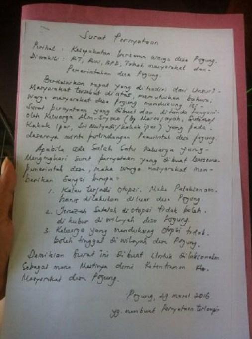 Surat pernyataan warga terkait penolakan otopsi jenazah Siyono
