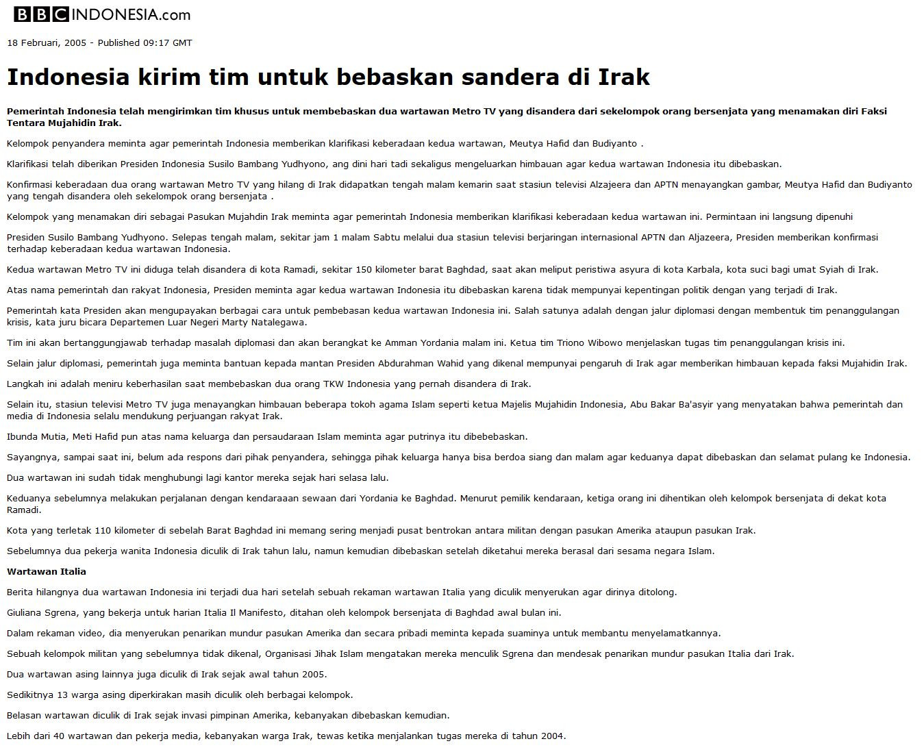 Jasa Ustadz Abu Bakar Ba'asyir bebaskan sandera Berita BBC