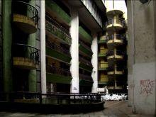Ulica Skenderija. Blok mieszkalny- podwórko
