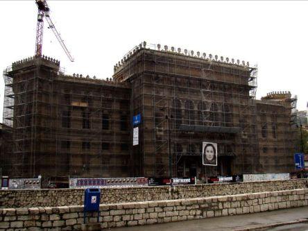 Budynek Biblioteki Narodowej. Odbudowa po zniszczeniach wojennych