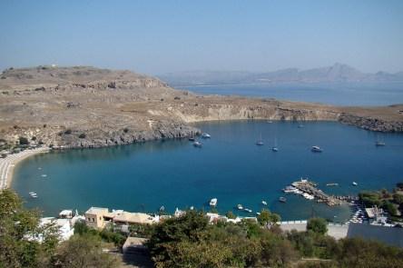 Lindos- widok na zatokę