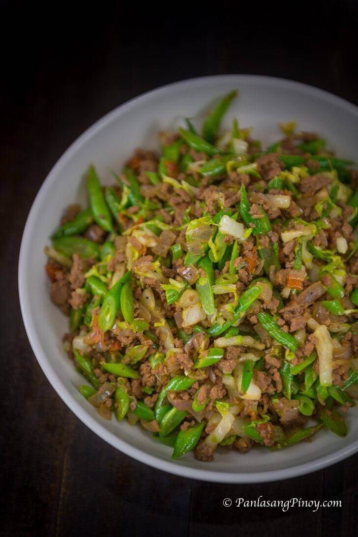 Sauteed Green Beans with Ground Beef - Panlasang Pinoy