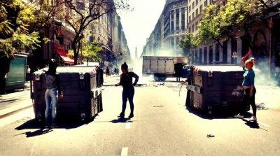 Piquete de #cartoneros sobre la Diagona Norte de la ciudad de Buenos Aires