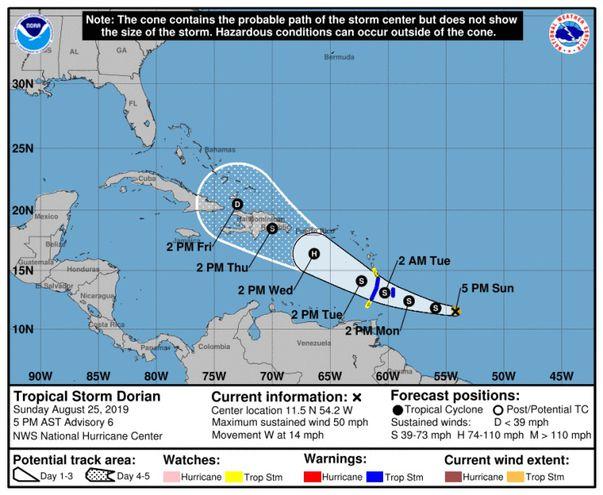 La tormenta tropical Dorian se fortalece aún más mientras se dirige al Caribe