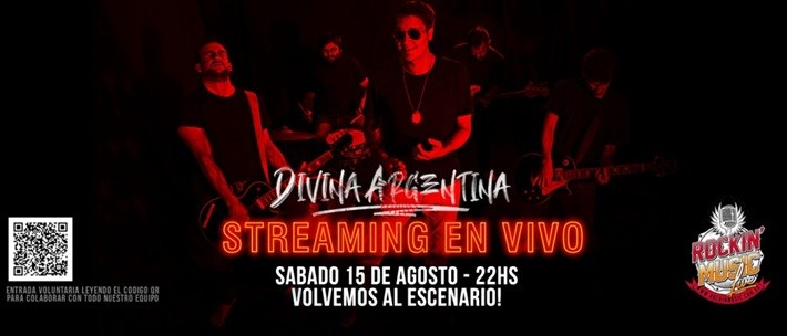 Divina Argentina primer show por streaming desde Rockin Music bar