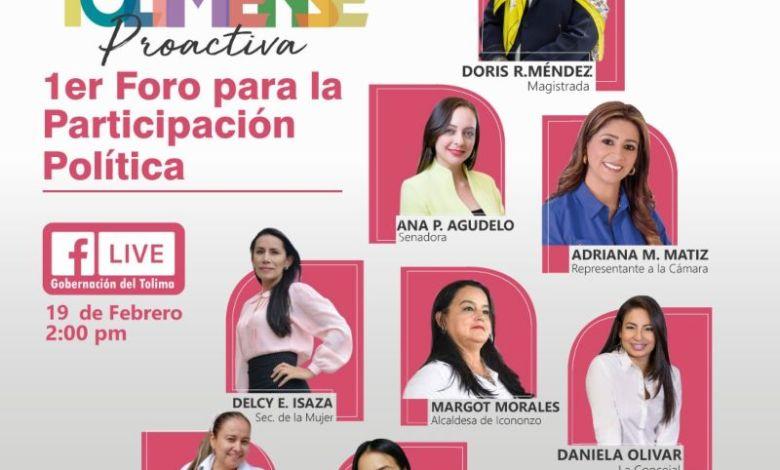 Gobierno departamental realiza su primer Foro de Participación Política con mujeres en el Tolima. 10