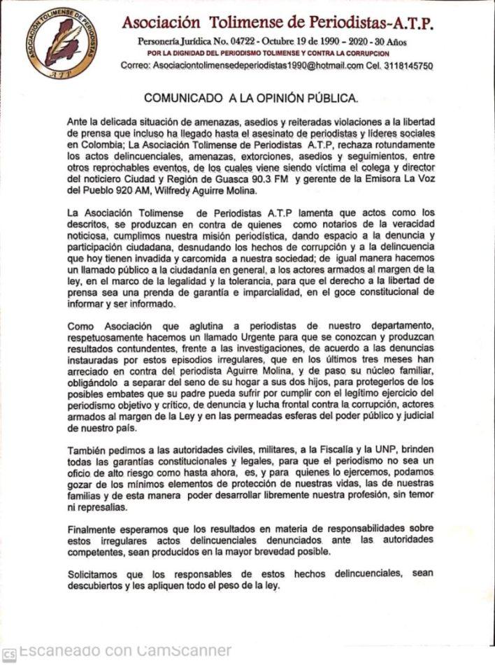 Asociación de periodistas rechaza amenazas y extorsiones contra comunicador tolimense. 2