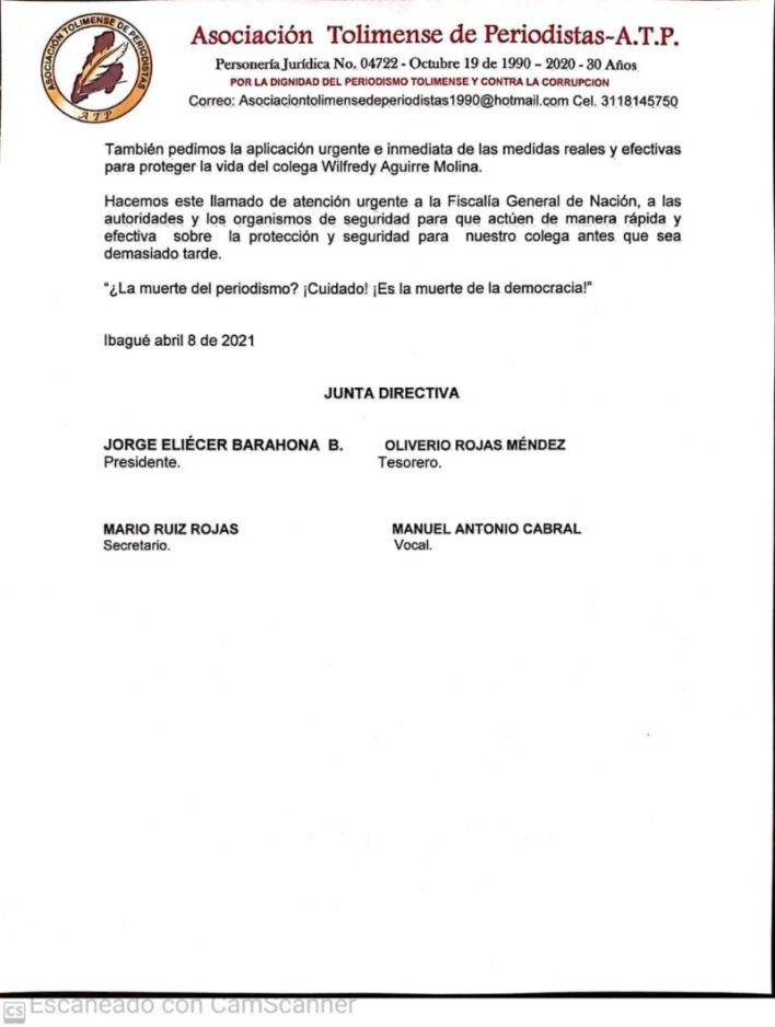 Asociación de periodistas rechaza amenazas y extorsiones contra comunicador tolimense. 3