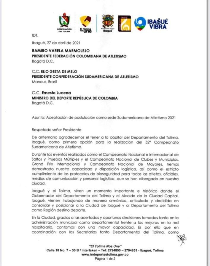 Ibagué será sede del 52º. Campeonato Sudamericano de Atletismo 3