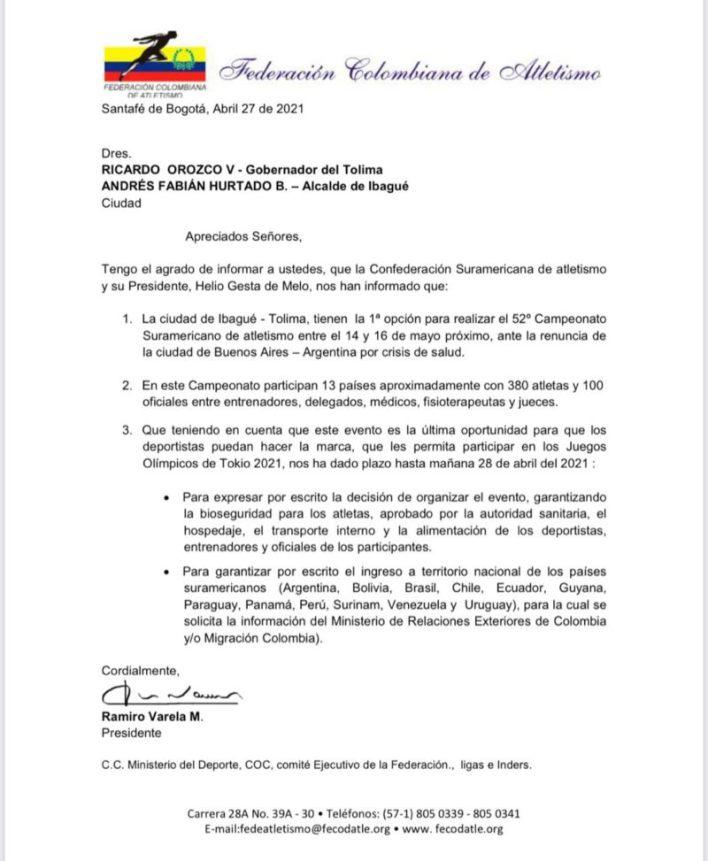 Ibagué será sede del 52º. Campeonato Sudamericano de Atletismo 2