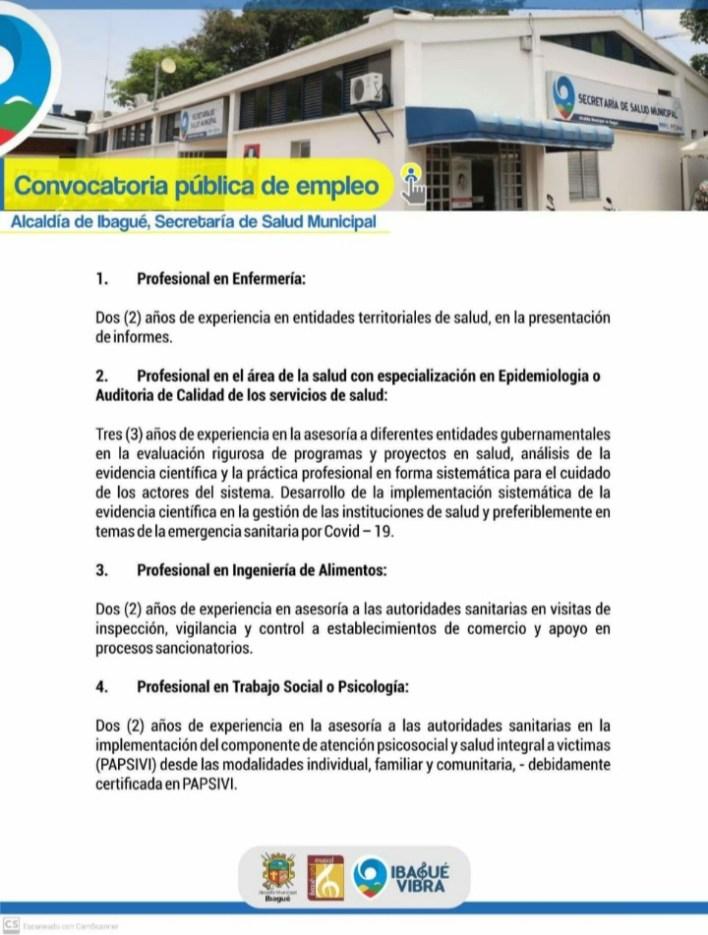 ¡Si hay trabajo! Alcaldía de Ibagué abre convocatoria de empleo. 2