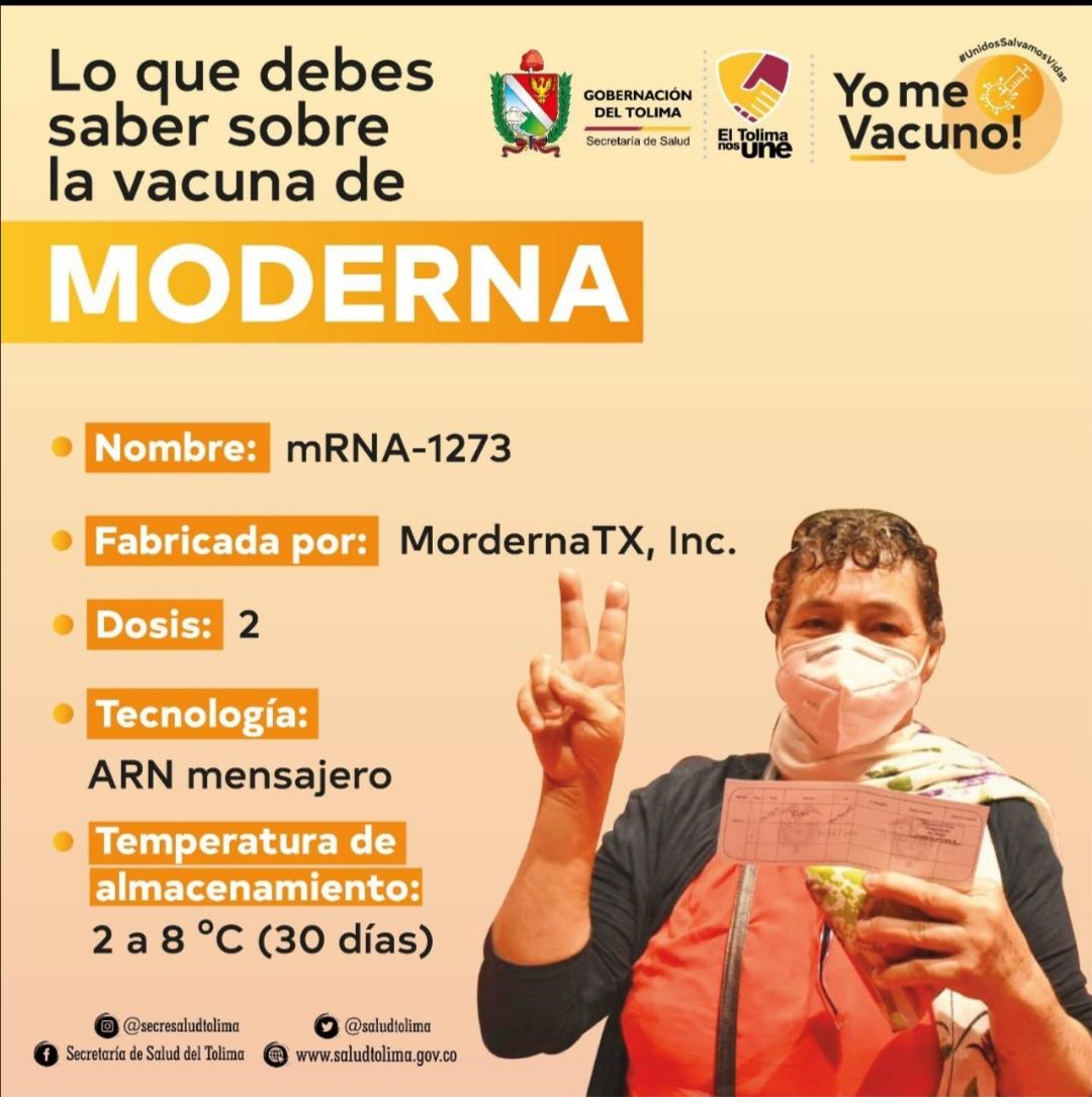 68.480 biológicos de la vacuna Moderna ya están el cavas del departamento. 1