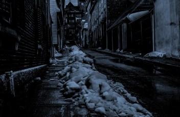 snowy night village