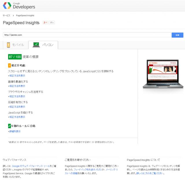 Google PageSpeed Insights結果SS