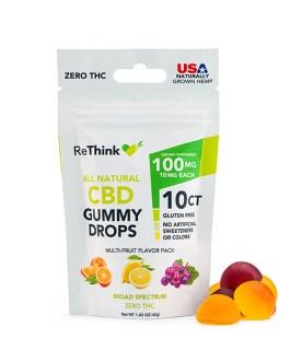 ReThink All Natural CBD Gummy Drops 10ct (Multifruit flavor)