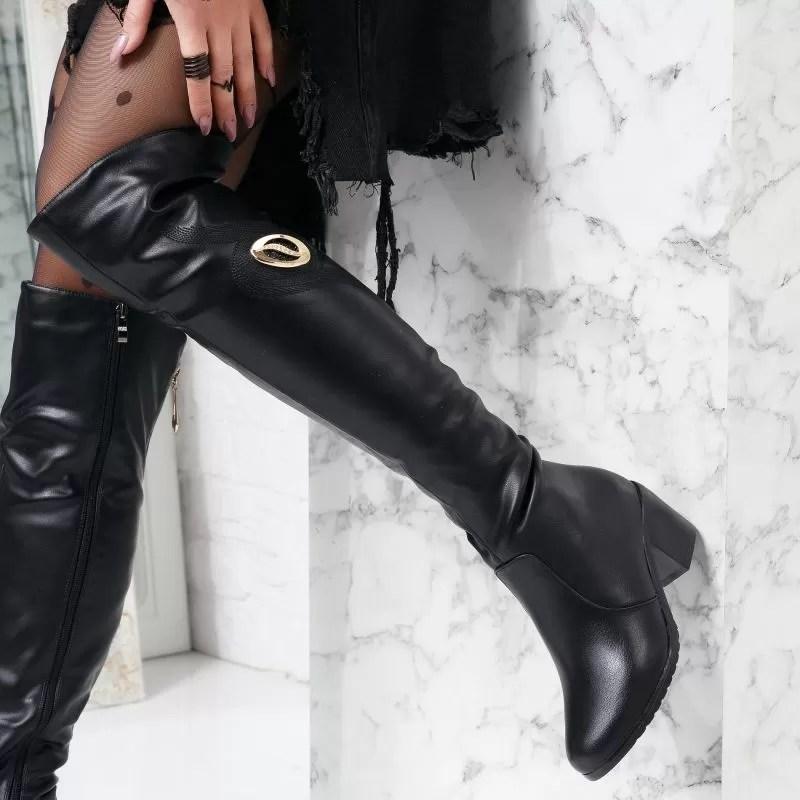 Cizme peste genunchi din piele lucioasa neagra si toc gros lucios