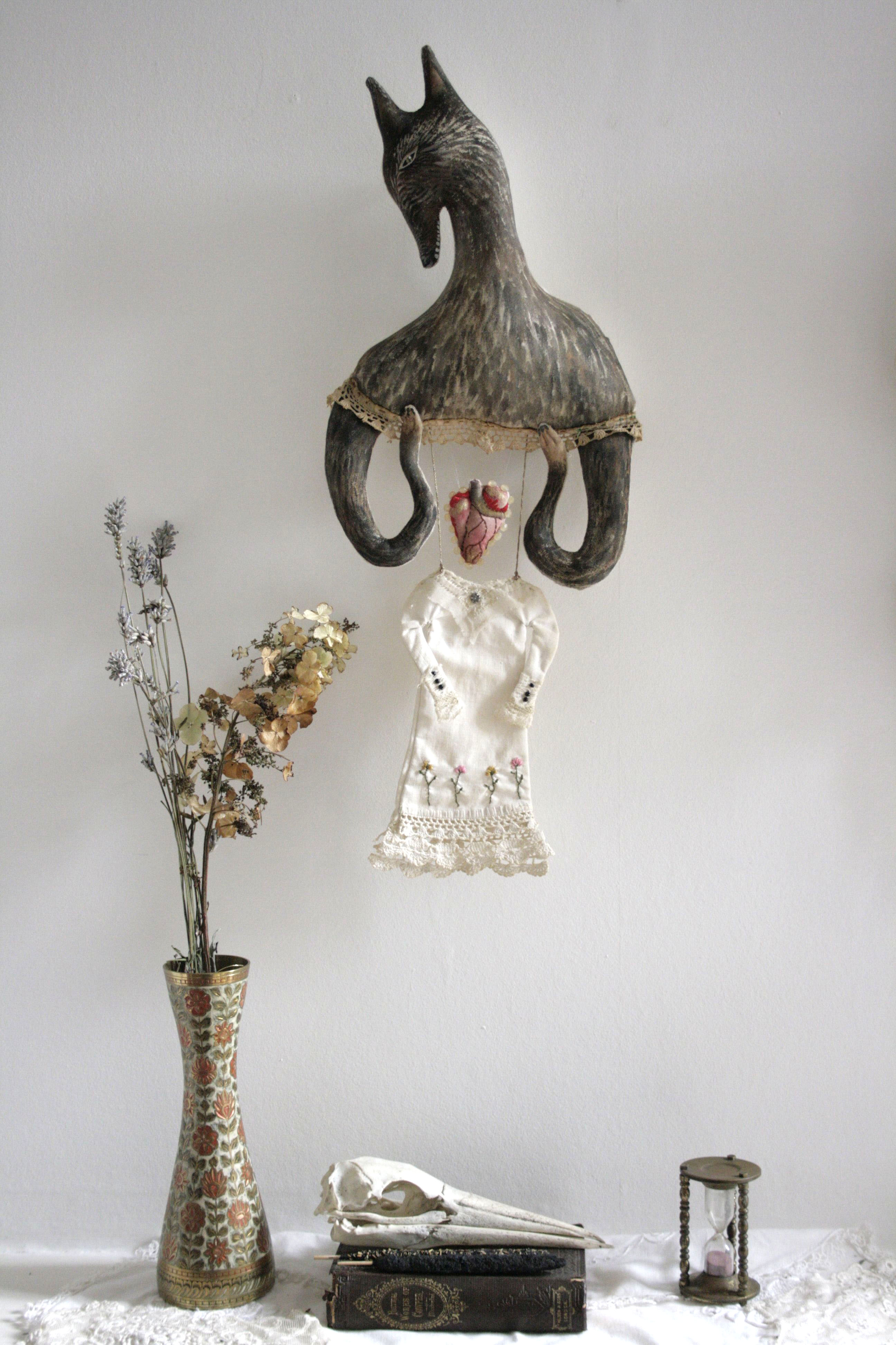 textile art wolf doll